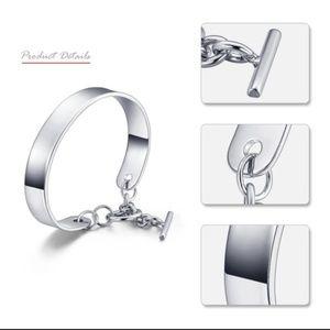 Jewelry - White Gold/Rhodium Plain Cuff Bracelet